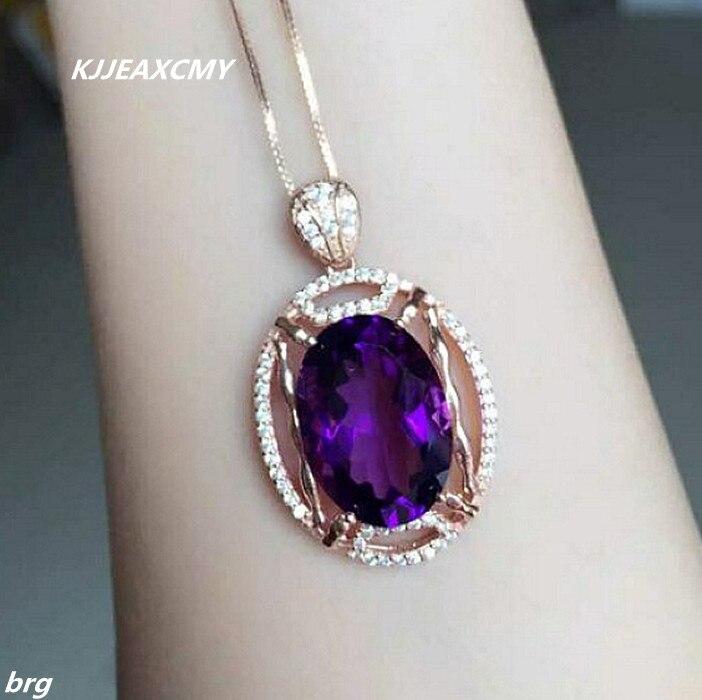 KJJEAXCMY boutique bijoux 925 argent incrusté grand naturel améthyste femmes pendentif + collier