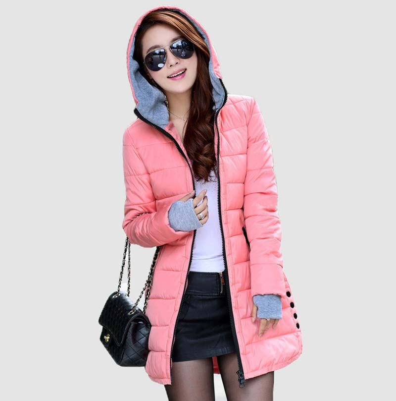 Women'S Hooded Cotton-Padded Jacket Winter Medium-Long Cotton Coat Plus Size Down Jacket Female Slim Ladies Jackets Coats BL1215 muxu new autumn winter coat women basic jacket coat female slim hooded cotton coats casual silver long sleeve ladies jackets