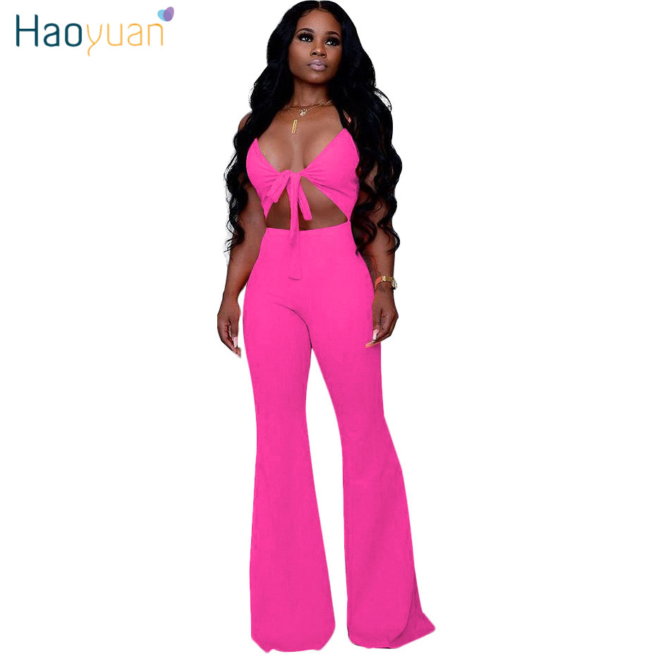 HAOYUAN Sexy Spaghetti Strap Bodycon   Jumpsuit   Women Cut Out Bow Tie Romper Summer Flare Pant Overalls Backless One Piece Outfit