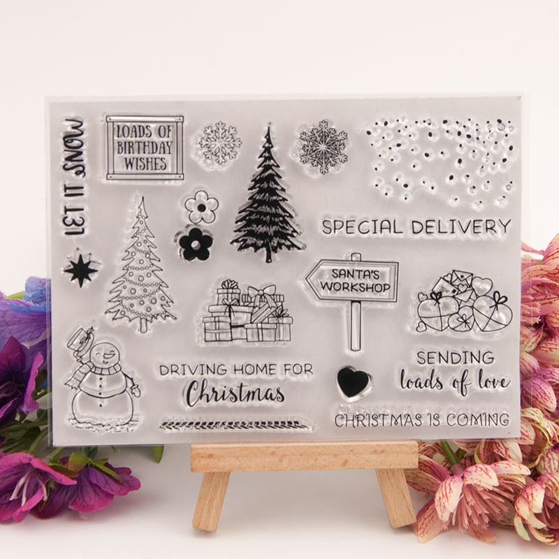 Christmas Gift Delivery Clear Stamps for Scrapbooking DIY Silicone Seals Photo Album Embossing Folder Paper Maker Template Decor