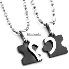 Titanium Stainless Steel Love Combining puzzle Necklaces heart Pendant for Couple Lovers Two color Blue Black one pair