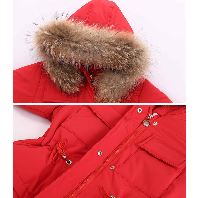 Image 3 - Russia Winter Children Clothing Sets Jumpsuit Snow Jackets+bib Pant 2pcs Set Baby Boy Girls Duck Down Coats Jacket With Fur Hood-in Down & Parkas from Mother & Kids