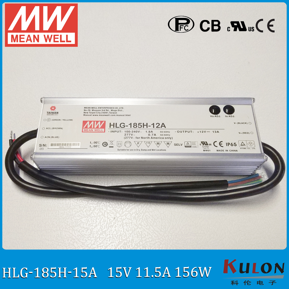 цена на Original MEAN WELL HLG-185H-15A 185W 11.5A 15V output adjustable led power supply IP65 waterproof Meanwell led driver with PFC