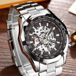 Image 1 - יוקרה כסף אוטומטי מכאני שעונים לגברים שלד נירוסטה עצמית רוח שעון יד גברים שעון relogio masculino