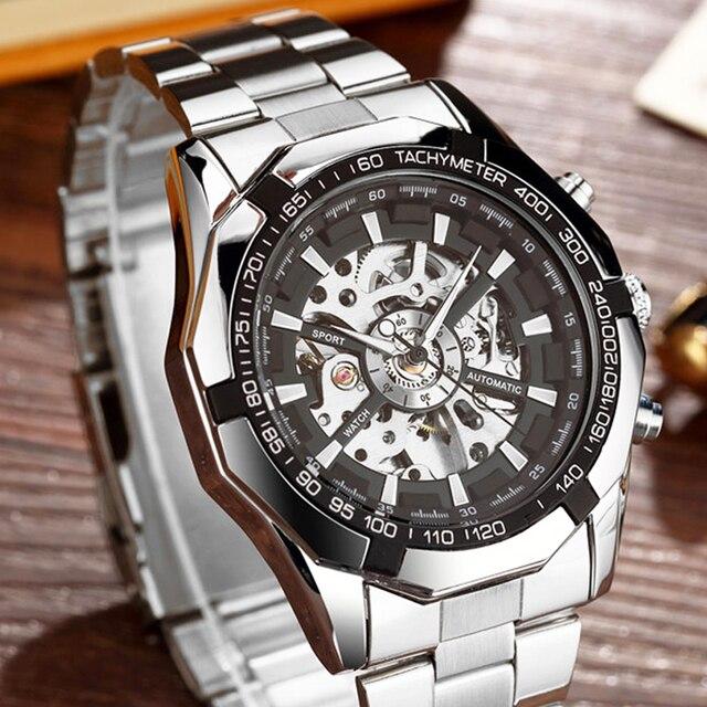 Lüks Gümüş Otomatik mekanik saatler Erkekler için İskelet Paslanmaz Çelik öz rüzgar kol saati Erkekler Saat relogio masculino