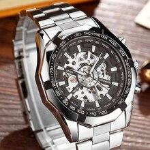 Luxus Silber Automatische Mechanische Uhren für Männer Skeleton Edelstahl Selbst wind Armbanduhr Männer Uhr relogio masculino
