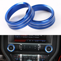 YAQUICKA 2Pcs Set Aluminum Car Interior Air Conditioner Knob Switch Ring Trim Styling For Ford Mustang