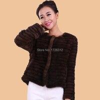 Норки Верхняя одежда короткая Дизайнерская одежда Женская волос зима реального норки трикотажные пальто с мехом