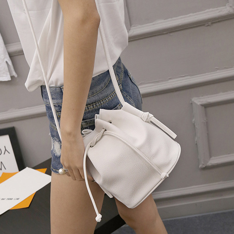 2017 Hot Sale Women Handbag Small Bucket Shape Women Messenger Bags Female Handbags PU Leather Shoulder Crossbody Bag Po 2017 hot fashion women bags 3d diamond shape shoulder chain lady girl messenger small crossbody satchel evening zipper hangbags
