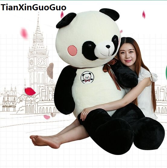 stuffed toy huge 150cm lovely cartoon panda plush toy silk belt panda soft doll hugging pillow birthday gift b1255