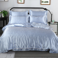 Satin Silk Queen Size Duvet Cover Set Summer Hot Sale Smooth Cool Bedding Set King Size Stripe Pattern Bed Linen Fitted Sheet