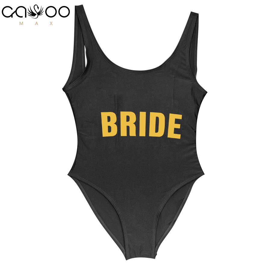 BRIDE Bikini Golden Letter Printed One Piece Swimsuit Bachelor Wedding Party Sexy Jumpsuit Women Swimwear High Cut Bathing Suit