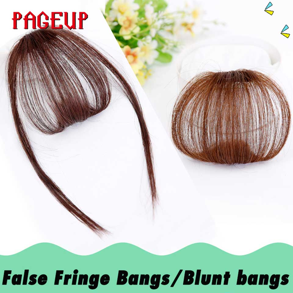 Pageup 6 Colors Synthetic Natural Front Bangs Hair pieces Clip In Fake Bangs For Women Clip In Hair Extensions Short Front Bangs (17)