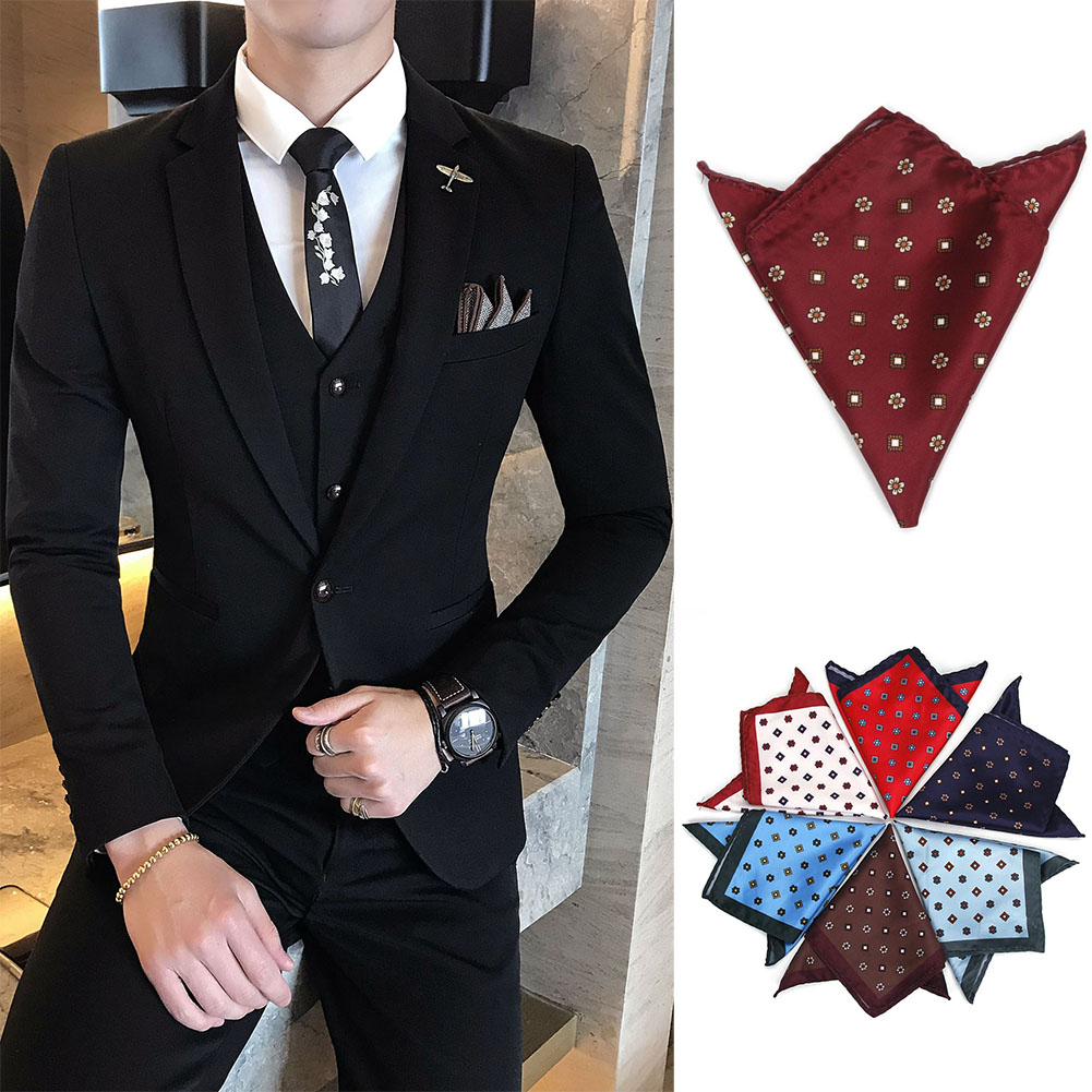 New Arrival 12 Colors Men Handkerchief Floral Printed Hankies Polyester Hanky Business Pocket Square Chest Towel 24 X 24cm LXH