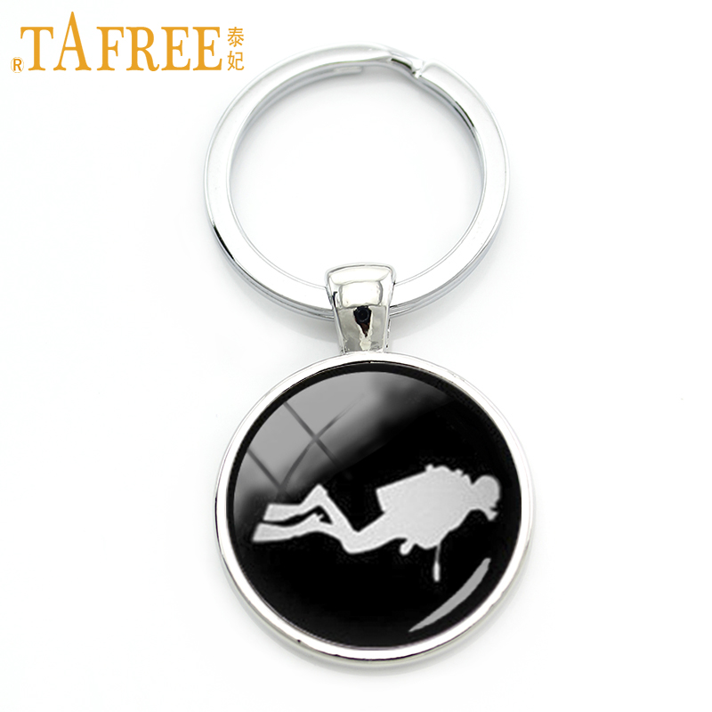 TAFREE Vintage scuba diver key chain Sharks Scuba Divers keychain frogman diving swimming sea jewelry aquanaut sports gift KC511