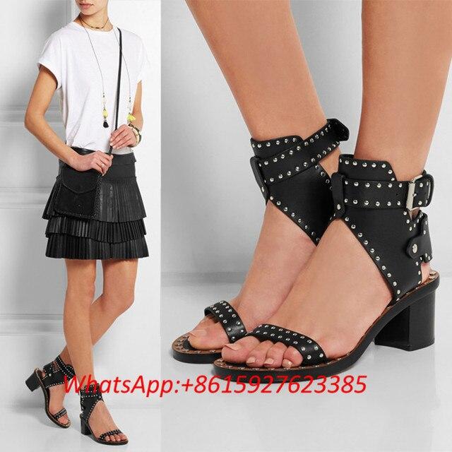 8e5db690ea98ce Black Leather Studded Medium Chunky Heel Gladiator Sandals Summer Fashion  Designer Beach Shoes Plus Size 43 Women Flip Flops