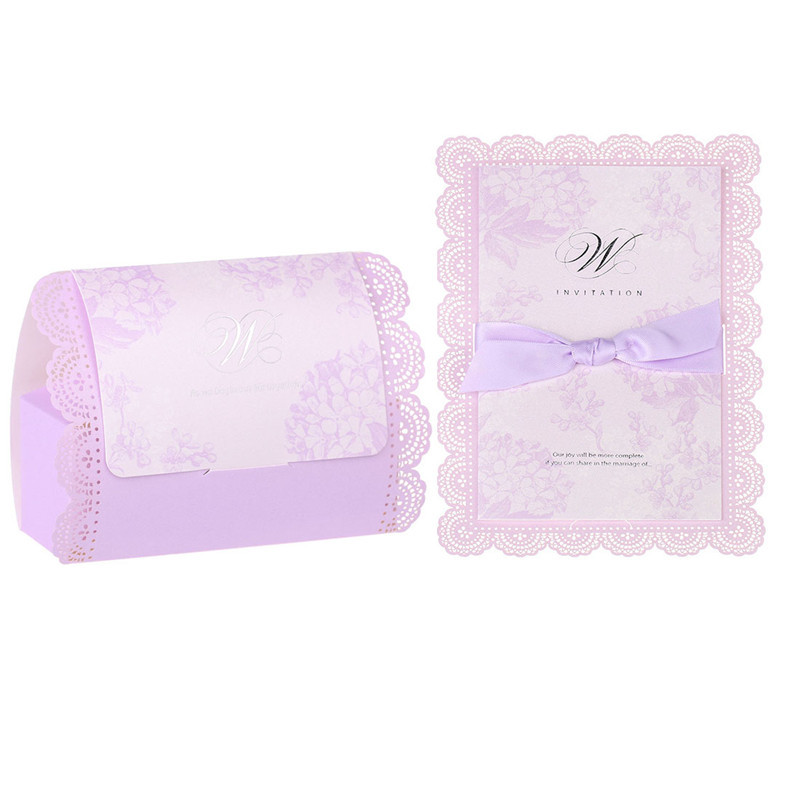 2PC Laser Cut Vine Flower Candy Box and Bow Wedding Invitations Card ...