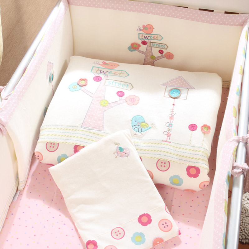 ФОТО baby bedding set cartoon crib bedding set for girls detachable cot quilt pillow bumpers fitted sheet 7pcs/set cotton pink