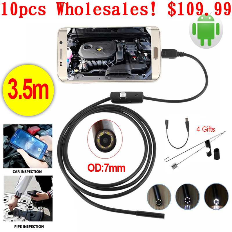 Wholesale 10pcs 7mm Endoscope 3.5M USB Android Endoscope Camera Car Pipe Inspection Micro USB Borescope Android phone Endoskop ...