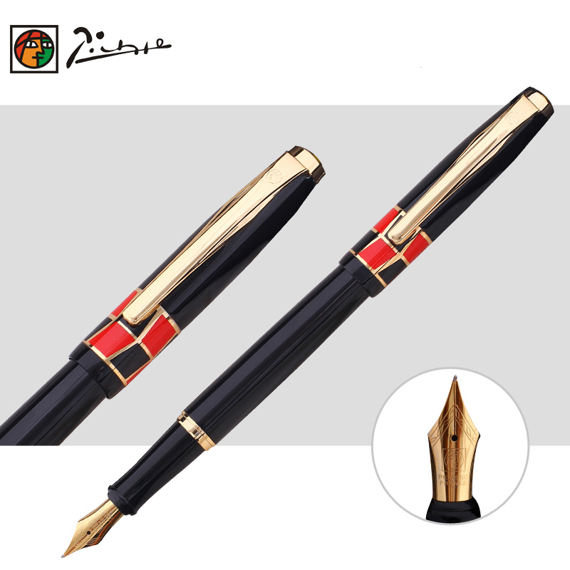 Free Shipping Promotion Picasso Pimio 923 Luxury Pure Black and Gold Clip Fountain Pen with 0.5mm Iridium Nib Metal Ink Pens