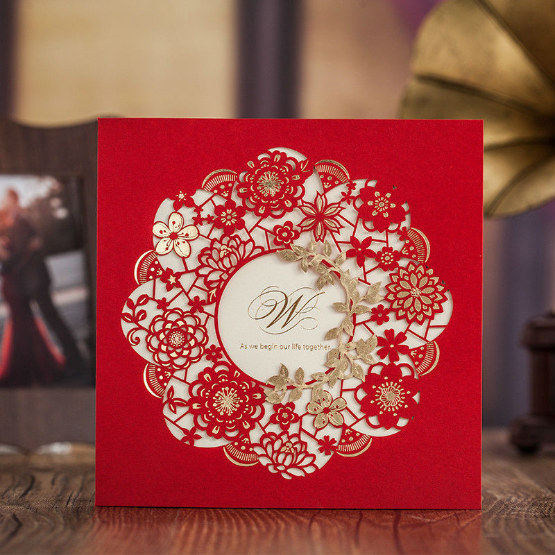Free Printable Erfly Gold Foil Red Wedding Invitation Card With Envelope Chinese Style Flower Decoration