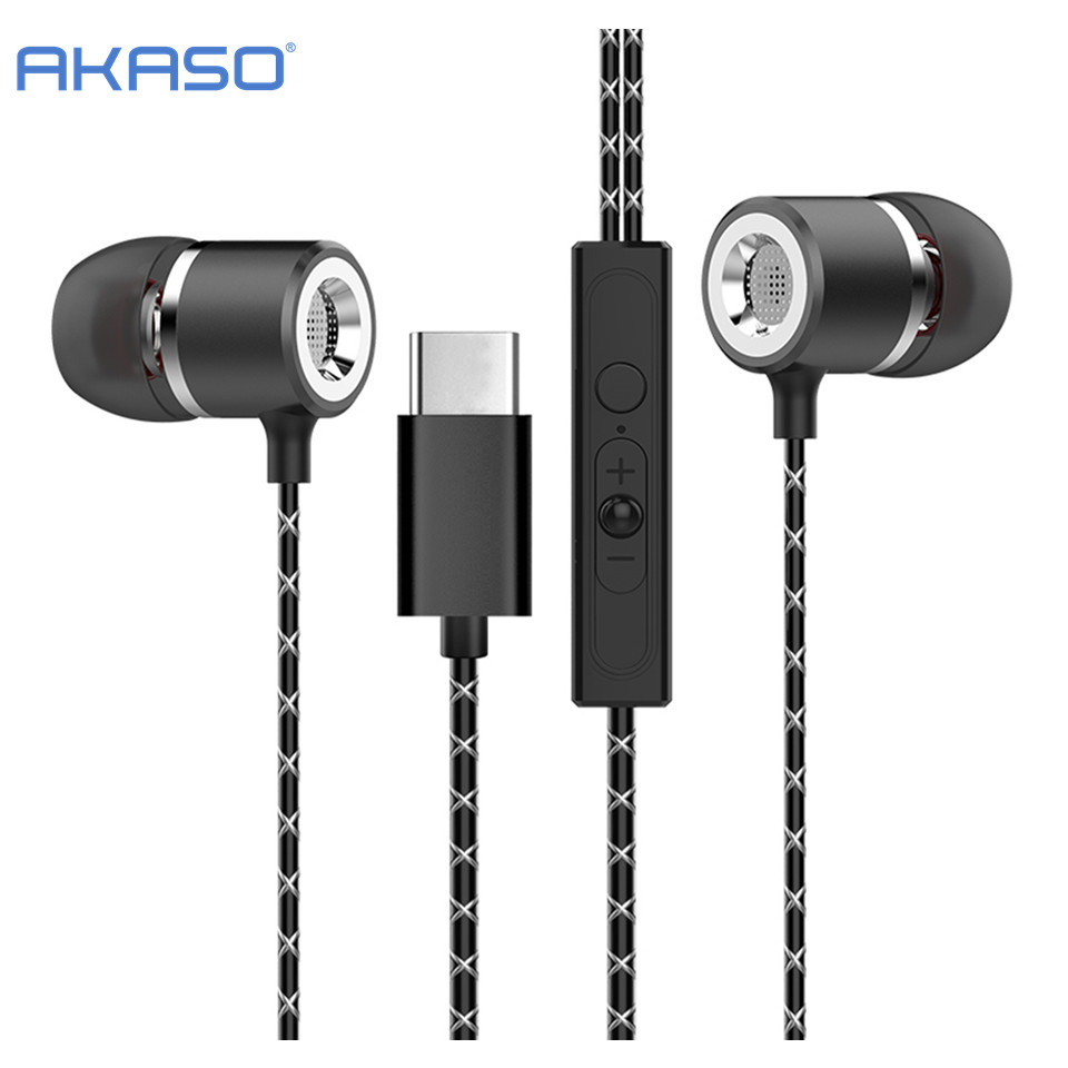 AKASO Super Bass Earphone with Mic HandsfreeType-c Earbuds Noise Canceling ear Phone for LeEco Le 2 Max Pro Meizu pro5 xiaomi 4C usb type c metal hi fi stereo earphones wired control type c earbuds for huawei google moto z letv leeco le max 2 pro htc phone