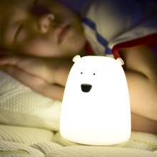 Ezk32 Colorful Little Bear Silicone 7 Color LED Night Light Rechargeable Touch Sensor Children Cute Night Lamp Bedroom Lights