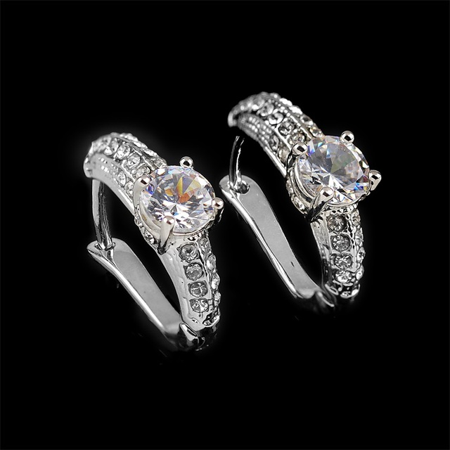 Silver Color Cubic Zirconia Jewelry Sets For Women Full Rhinestones Necklace Earrings Finger Ring Jewelry Wholesale