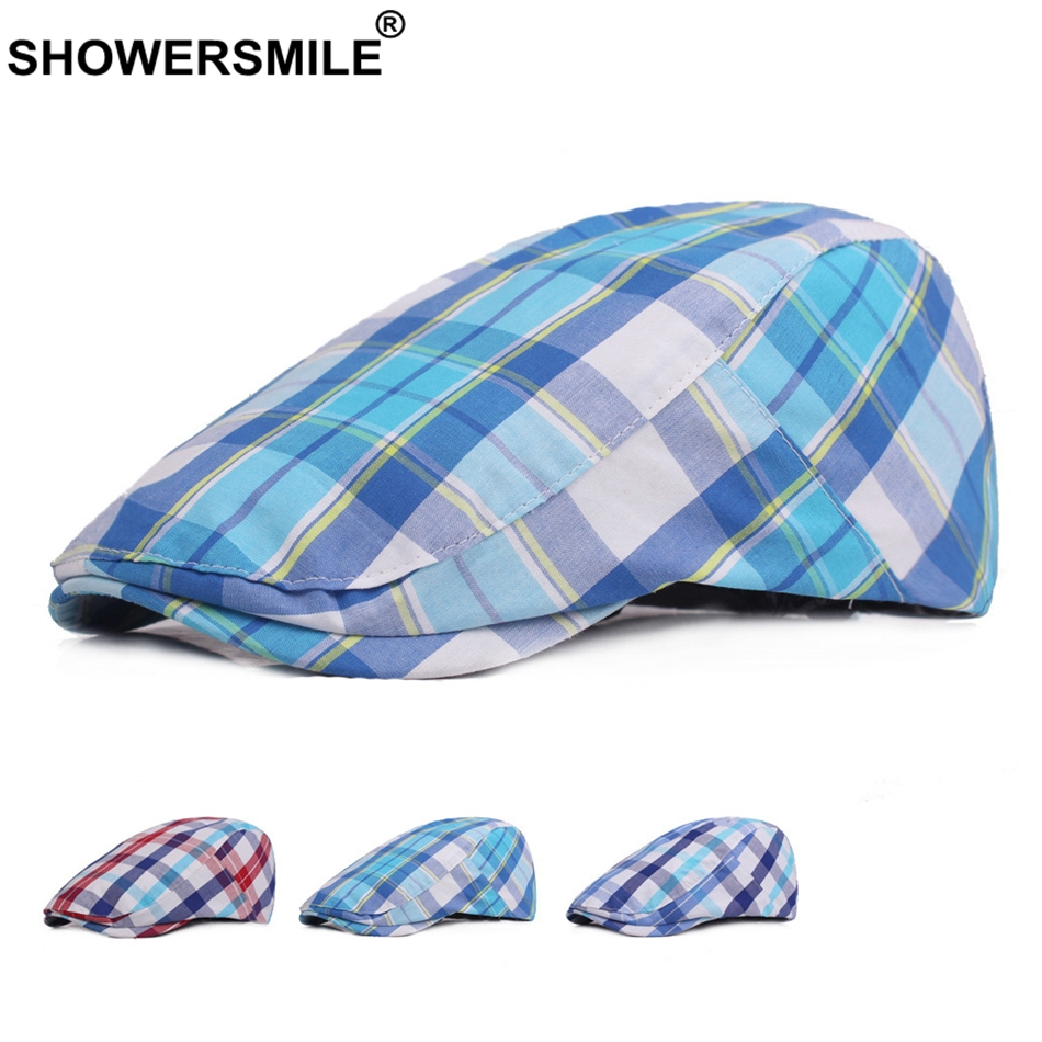 f5e535b4b0d SHOWERSMILE Plaid Flat Beret Hats Men Cotton Blue Checkered Duckbill Hat  Male 2018 New Fashion Summer Casual Ivy Hats And Caps-in Berets from  Apparel ...