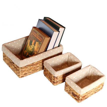 Cesta de armazenamento caixa de armazenamento caixa de armazenamento caixa de acabamento cesta de armazenamento de palha de vime