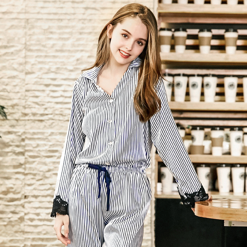 Autumn Women Sexy Nightwear Fashion Patchwork Sleepwear 2018   Pajamas     Set   Faux Silk Long Sleeve Tops+Pants Home Wear TZ853