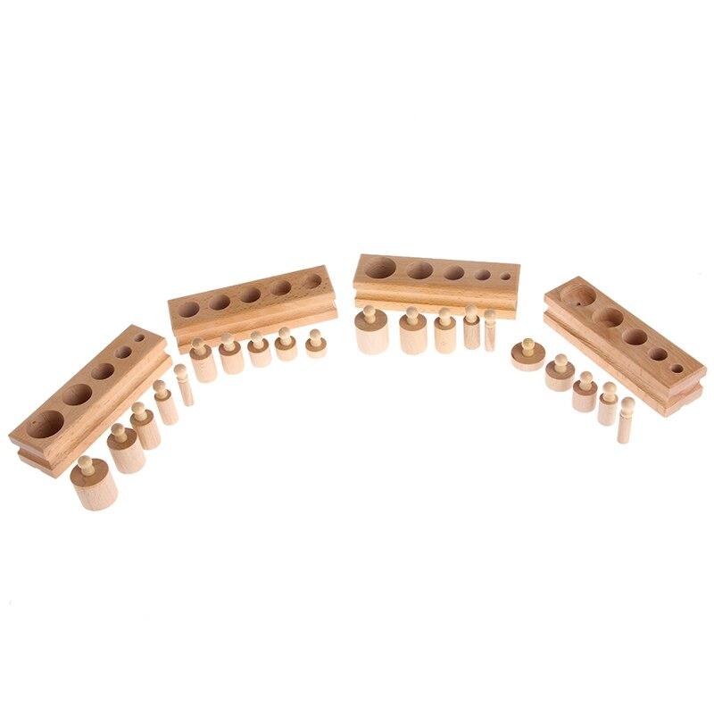Montessori de madera juguetes de madera didácticos y educativos para los niños cilindro hembra juguete bebé de la práctica del desarrollo y los sentidos 4 Unid/1 Unidades