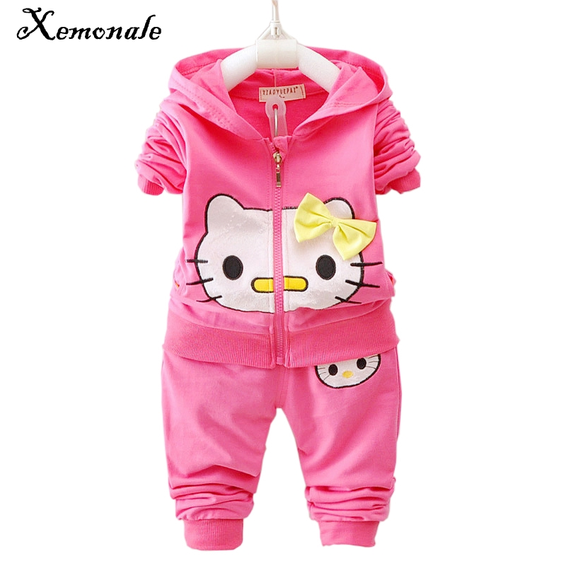 Xemonale Autumn Baby Girls Clothes Children Fashion Sweaters Pant 2Pcs Sets Toddler Tracksuit Cartoon Cat Casual Hoodied Suit
