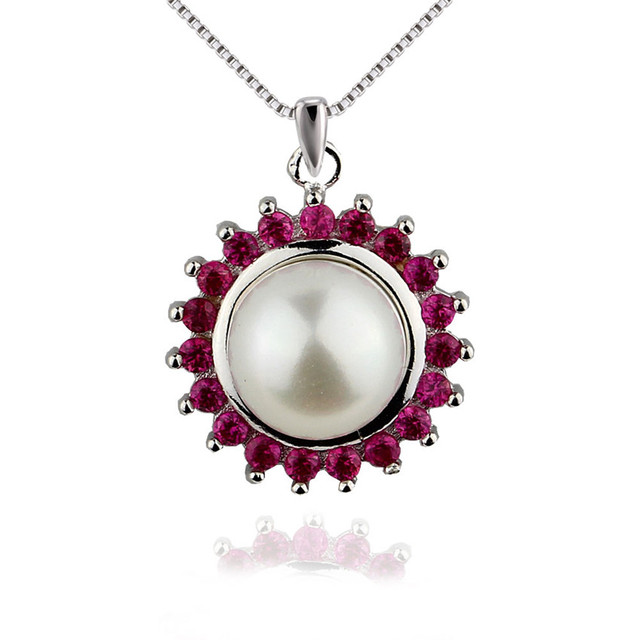 SNH 100% 925 sterling silver rose red necklace pendant 9.5-10mm AAA natural white button pearl pendant jewelry for women