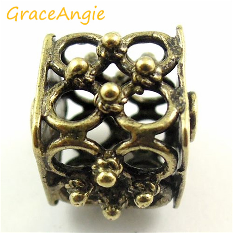 GraceAngie 8pcs/pack Ancient Bronze 2mm Hollow Beads Irregular Pattern Jewelry Accessories DIY For Bracelets Party Decorations