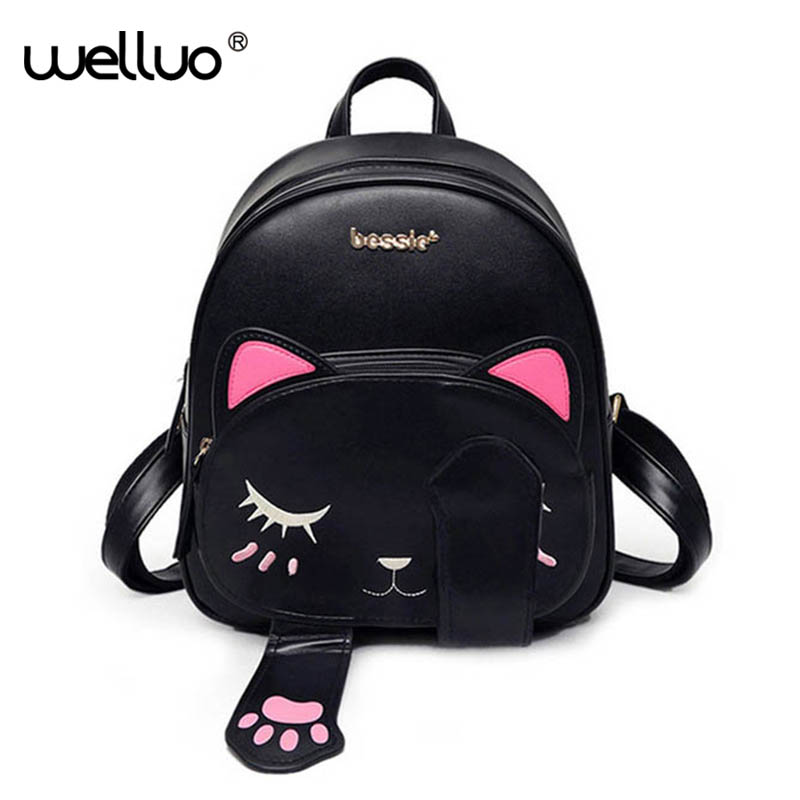 Cute Cat Backpack School Women Pu Leather Backpacks for Teenage Girls Funny Cats Ears Canvas Shoulder Bags Female Mochila XA531B vintage cute owl backpack women cartoon school bags for teenage girls canvas women backpack brands design travel bag mochila sac