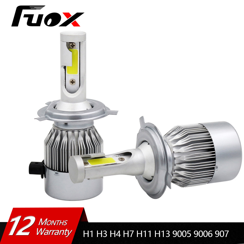 2Pcs 12V 24V Car Headlight H4 LED H7 H1 H3 H11 H13 HB2 HB4 HB5 9004 9005 9006 9007 72W 8000LM Auto Car Headlamp 6000K Light Bulb 2x h13 h4 9003 hb2 9004 9007 110w 10400lm lumileds chips led car auto canbus headlight light bulb no error fog lamp h l