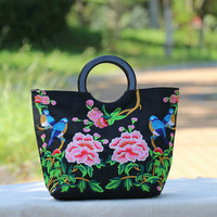 New Floral Embroidered Shopping Bags All Match Vintage Embroidery Women Top Handle Bags Top Shopping Lady