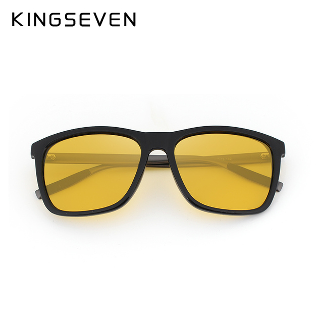 KINGSEVEN Polarized Men Women Night vision Sunglasses Yellow Lens Vintage Square Male Female  Sun Glasses High quality 3