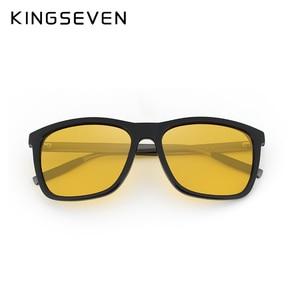 Image 4 - KINGSEVEN Polarized Men Women Night vision Sunglasses Yellow Lens Vintage Square Male Female  Sun Glasses High quality