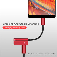 USB Type C Audio Cable 2 in 1 Type-C to 3.5mm Jack Charge Headphone Adapter Cable (Huawei P20 Pro Xiaomi Mi 6 8 Note)