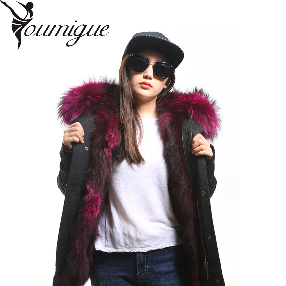 YOUMIGUE Winter Jacket Women  Army Green Parka Coats Real Large Raccoon Fur Collar Fox Fur Lining Hooded Outwear Free DHL UPS women large collar army camouflage fox fur liner hooded coat outwear real fox fur lining jacket woman brand dhl free shipping