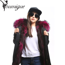 YOUMIGUE Winter Jacket Women  Army Green Parka Coats Real Large Raccoon Fur Collar Fox Fur Lining Hooded Outwear Free DHL UPS