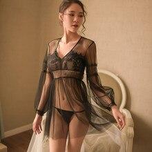 f692b59bb Summer New Beauty Fairy Black Sheer Lace Deep V Collar Net Sexy Underwear  Long Sleeve Mesh