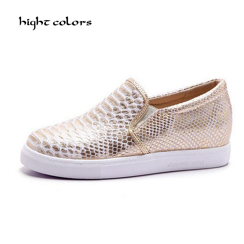 Creepers 2017 Colores Snakeskin Mujeres Tamaño Nuevo Silver 34 gold Marca Señoras Plana 43 Loafer hight Oro Plata Slip Zapatos On Mujer qUxdXq