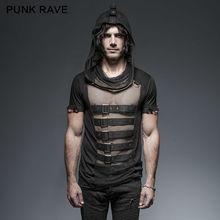 2016 нью-панк рейв-розовый мужские рок черный мода улица сетки сексуальная футболку топ