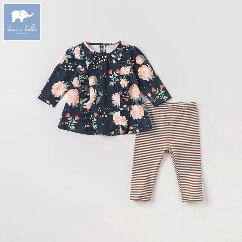 DBA7979 dave bella autumn infant toddler baby girls floral clothes kids long sleeve clothing sets children 2 pcs suit db3704 dave bella autumn baby girls floral clothing sets kids flower clothing sets toddle cloth kids sets baby costumes