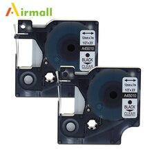 Airmall 2 упак./лот Совместимость DYMO D1 ленты этикетки 12 мм черный на 45010 для Dymo LabelManager 160 280 420 P PNP 220 P 360D