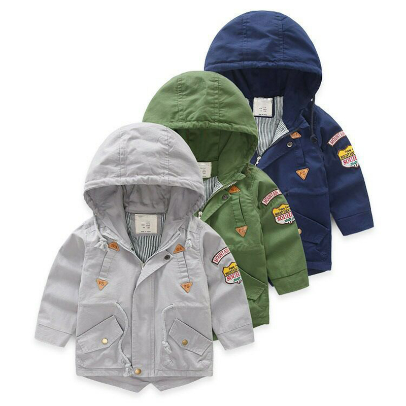Boys windbreaker Autumn and winter   trench   3-10 Y cotton Korean solid color Classic casual jacket hot sale Drawstring belt coat