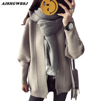 AISHGWBSJ New Loose Solid V Neck Sweater Cardigan Women Casual Long Sleeve Knitting Jacket Female knitwear Students Coat QYX145